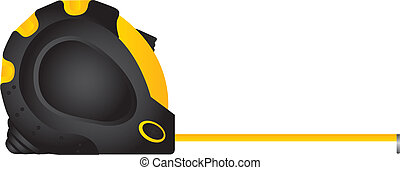 Yellow and black measure tape on white background, vector illustration