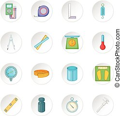 Measure tools icons set