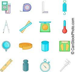 Measure tools icons set, cartoon style