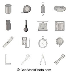 Measure tools icons set, monochrome style