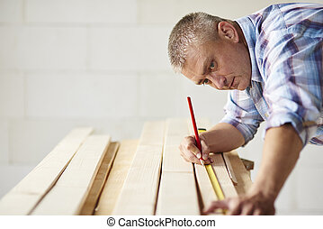 Measure wooden material twice by carpenter