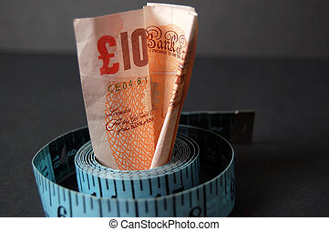 This is an image of a ten pound note and measuring tape.