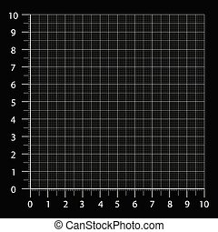 Measured grid. Graph plotting grid. Corner ruler with sets of measurement numbers isolated on the black background. Vector graph paper template background.