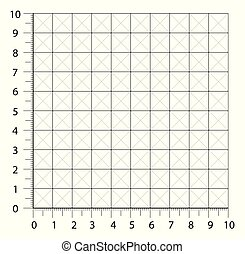 Measured grid. Graph plotting grid. Corner ruler with sets of measurement numbers isolated on the white background. Vector graph paper template background.