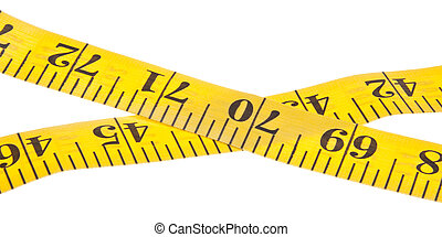 Yellow measuring tape for diet, healthy and sewing themed use. Isolated on white with a clipping path.