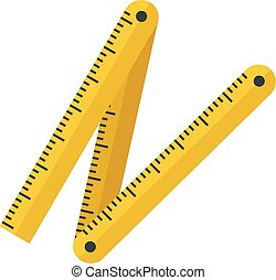 Measurement construct ruler icon, flat style
