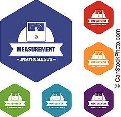 Measurement instrument icons vector colorful hexahedron set collection isolated on white