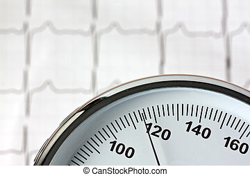 measurement of blood pressure and ecg curve.