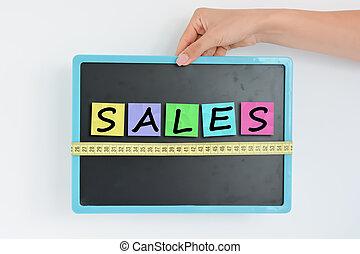 Measurement of sales concept on blackboard