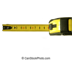 measurement - Opened yellow tape measure on white isolated...