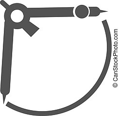 Measurement, science, compass icon vector image.Can also be...
