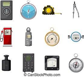 Measurement tool icon set, cartoon style