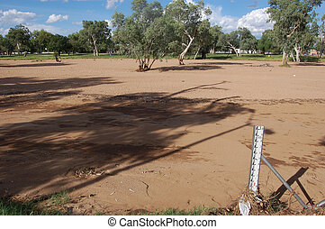 Measurer at dried up river, Alice Springs, Northern...