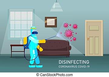 measures., ウイルス, 平ら, 殺菌する, covid-19, スタイル, 予防, 保護, 人, 家, ...