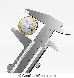 measuring a one euro coin isolated on a white background