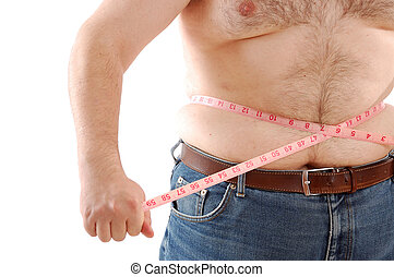 measuring bg abdomen - big man measuring his belly with a...