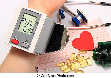 Measuring blood pressure, medicine concept