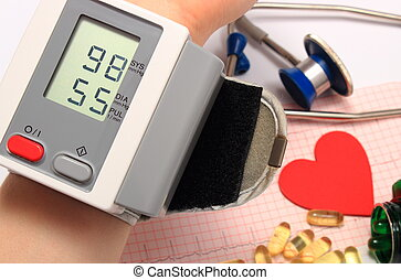 Measuring blood pressure, medicine concept
