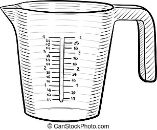 A line art illustration of a measuring cup.