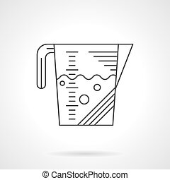 Measuring cup flat line vector icon