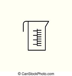 measuring cup line icon on white background