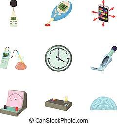 Measuring device icons set, cartoon style