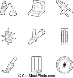Measuring device icons set, outline style