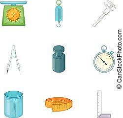 Measuring equipment icons set, cartoon style