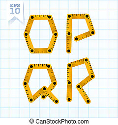 Yellow wooden folding ruler letters O P Q R on a blue graph paper. Vector flat modern decorative concept typeset.