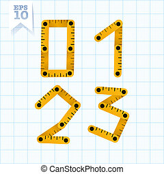 Measuring folding ruler flat vector abc