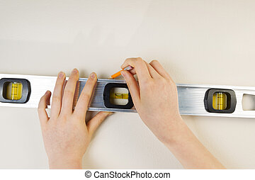 Measuring Level and Pencil for marking interior wall -...