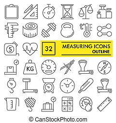 Measuring line icon set, measurement symbols collection, vector sketches, logo illustrations, equipment signs linear pictograms package isolated on white background, eps 10.
