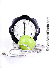 measuring meter with watches and diet apple