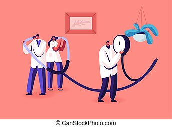 Measuring of Arterial Blood Pressure, Cardiology Diseases Concept. Tiny Doctors Holding Huge Medical Device Tonometer for Checking Systolic and Diastolic Pressure. Cartoon Flat Vector Illustration