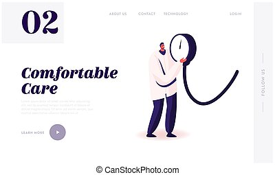 Measuring of Arterial Blood Pressure, Cardiology Diseases Website Landing Page. Tiny Doctor Holding Huge Medical Device Tonometer for Checking Pressure Web Page Banner Cartoon Flat Vector Illustration