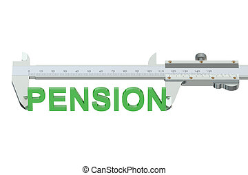 measuring pension concept  isolated on white background