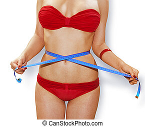 measuring perfect shape in red underwear