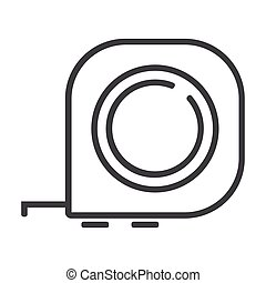Measuring ruller line icon on white background