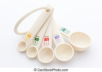 measuring spoons in varying sizes on white background