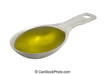 Measuring tablespoon of olive oil isolated on white, ...