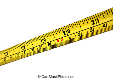 A strip of yellow and black measuring tape.