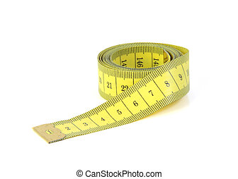 A yellow measuring tape. All on white background.