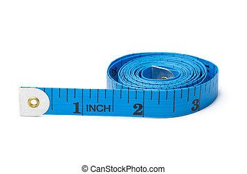 Blue measuring tape for tailor on white background