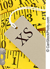 Measuring tape closeup with size tag