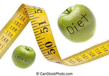 Measuring Tape Diet Calories Concept Isolated on White with...
