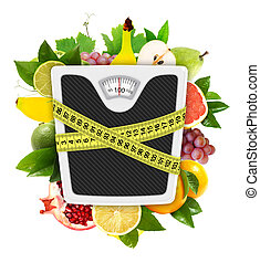 Measuring tape diet concept - Measuring tape wrapped around...