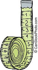 Measuring tape - hand drawn, sketch illustration of...