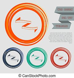Measuring tape icon on the red, blue, green, orange buttons for your website and design with space text. Vector