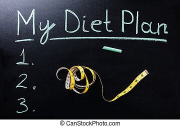 Measuring Tape In Front Of My Diet Plan Text