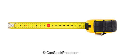 Measuring tape isolated on white background, top view